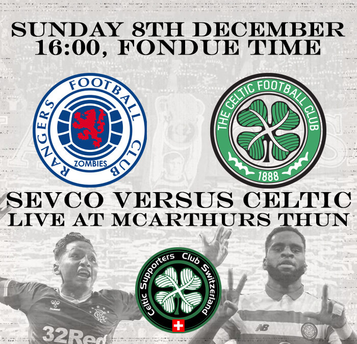 Sevco vs. Celtic live at McArthurs Thun
